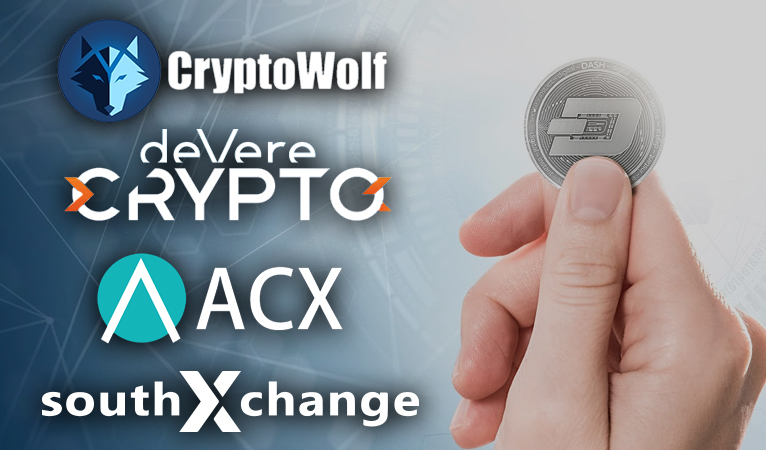 Dash Added to deVere Crypto, CryptoWolf, ACX, SouthXChange