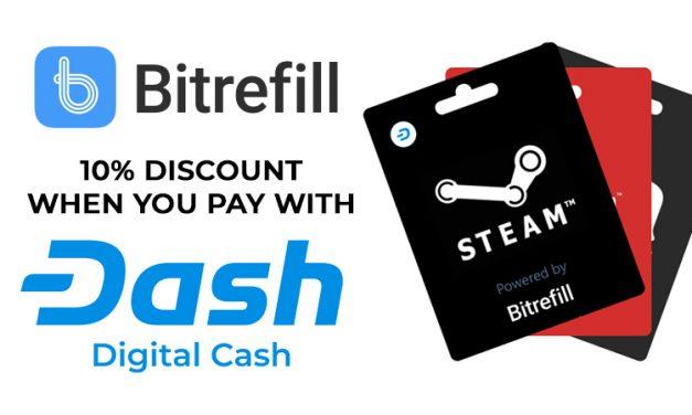 Bitrefill continue d'étendre ses opérations en intégrant Dash, incluant 10% de réduction sur les commandes payées avec Dash
