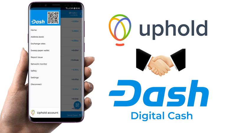 Mit Uphold kann Dash direkt über die offizielle Wallet erworben werden