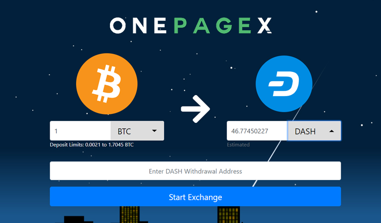 OnePageX.com intègre Dash élargissant ainsi les options d'échange