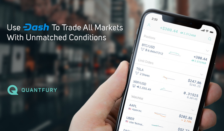 Quantfury Adds Dash, Enables Holders to Trade Crypto, Currencies, Stocks, Commodities