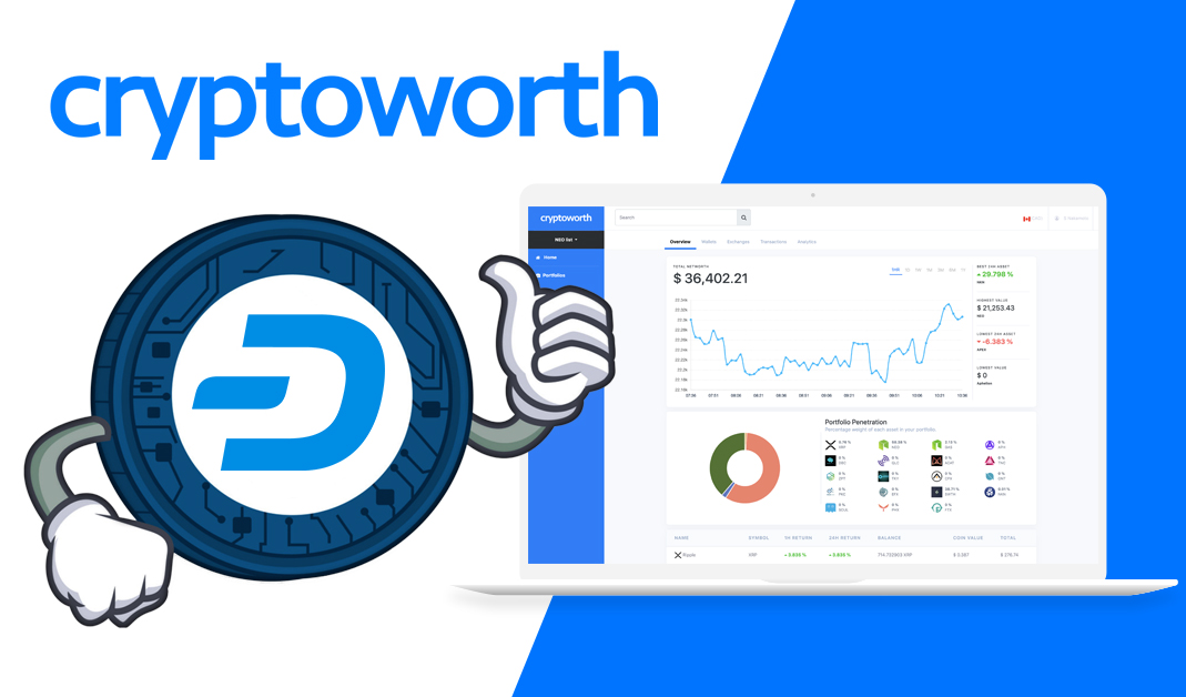 Cryptoworth Integrates Dash Streamlining Cryptocurrency Portfolio Management